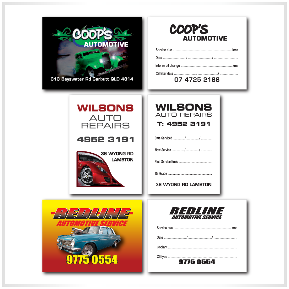 Double sided auto service lube stickers